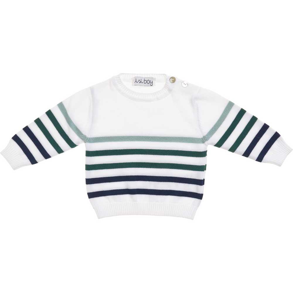 maglioncino bianco con righe verdi