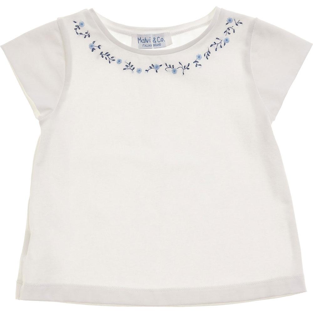 t-shirt bianca fiori blu