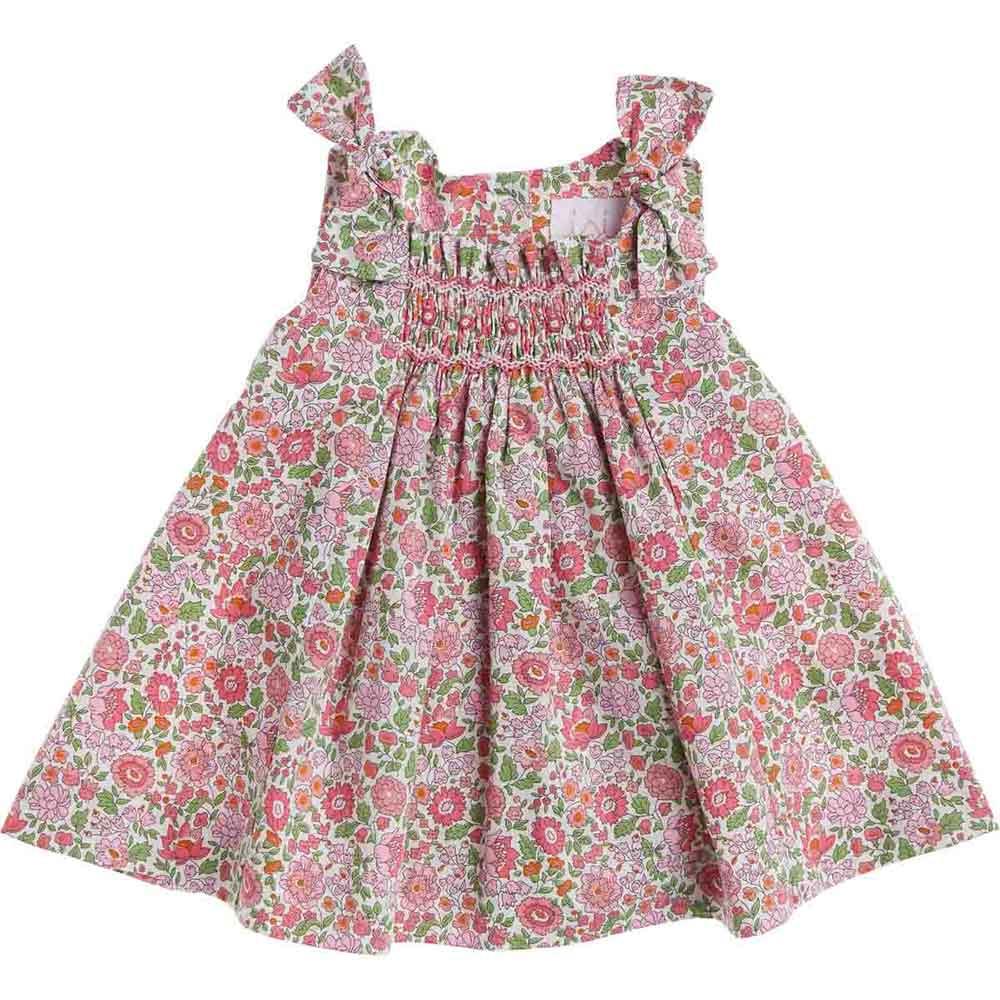 vestito a fiori rosa e verde
