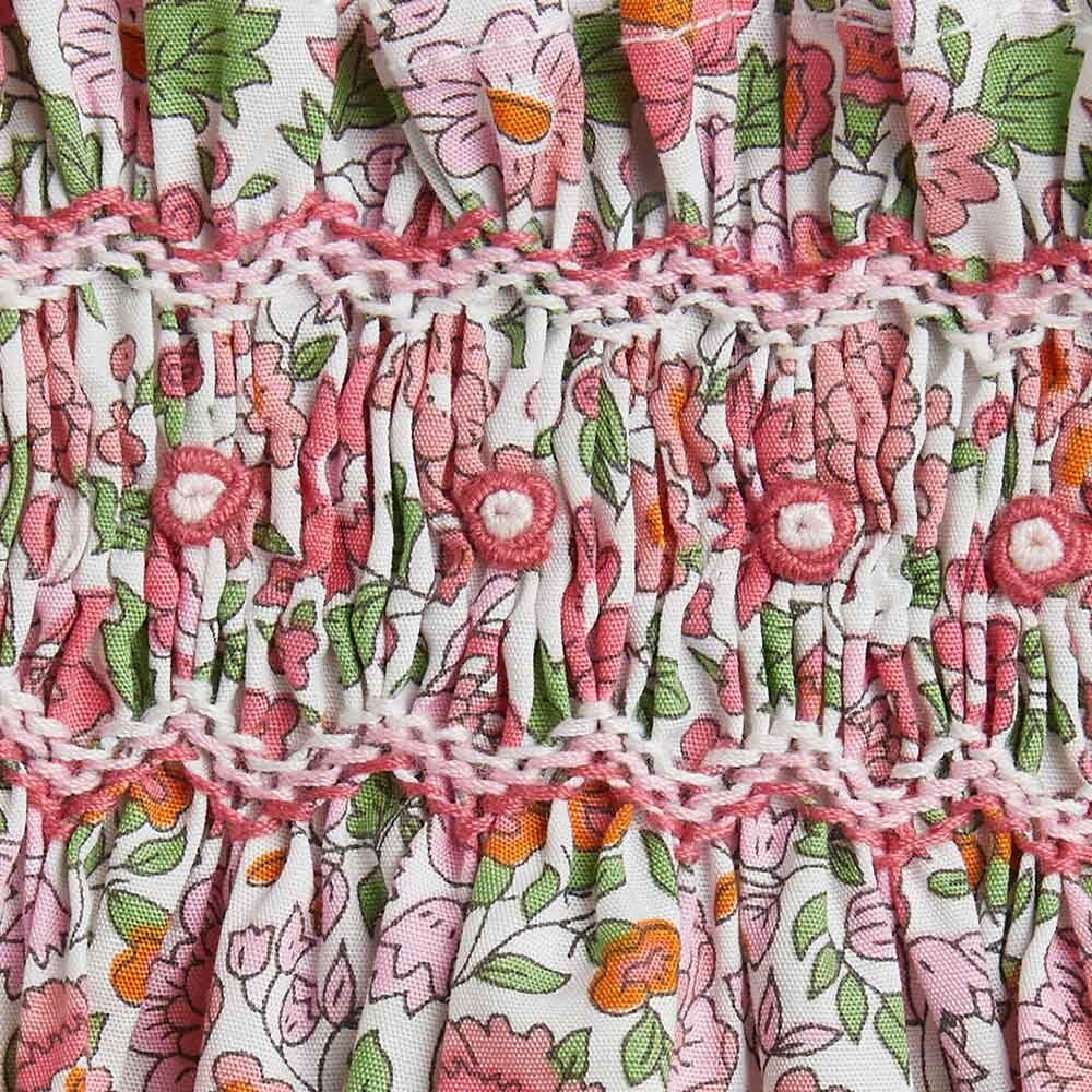 vestito rosa a fiori dettaglio