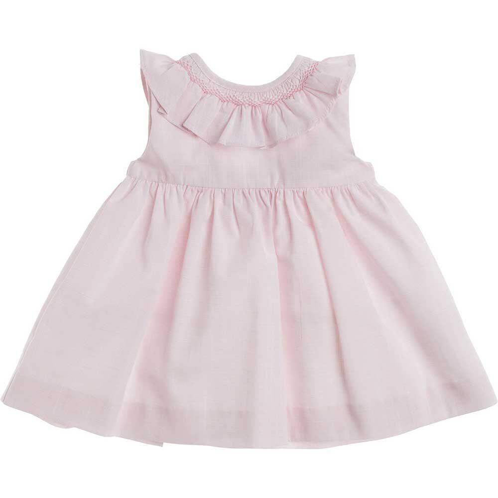 vestito rosa collo volant